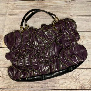 EUC Maxx New York Leather Eggplant Handbag